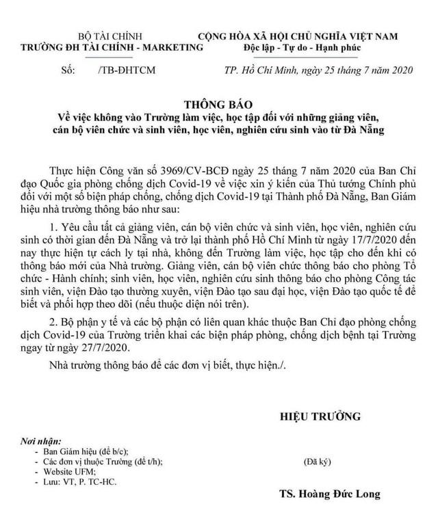 Trường đại học yêu cầu sinh viên, giảng viên về từ Đà Nẵng cách ly tại nhà - 1