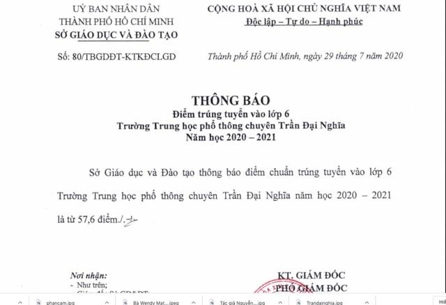 TPHCM: 57,6 điểm trúng tuyển vào lớp 6 Trường THPT chuyên Trần Đại Nghĩa - 2