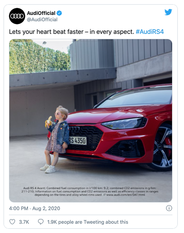 Audi gỡ bỏ quảng cáo có hình ảnh bé gái ăn chuối vì bị phê bình nhạy cảm - 1