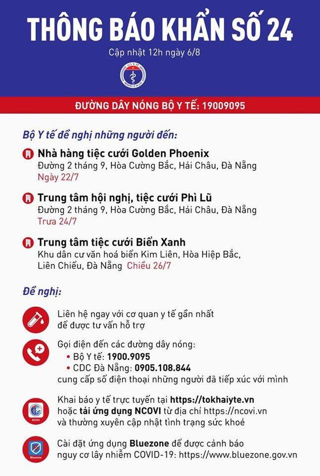 Bộ Y tế truy tìm khẩn người đến 3 địa điểm tổ chức tiệc cưới của Đà Nẵng - 1