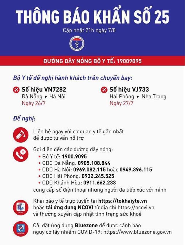 Thông báo khẩn 2 chuyến bay đến Hà Nội, Nha Trang có ca mắc Covid-19 - 1