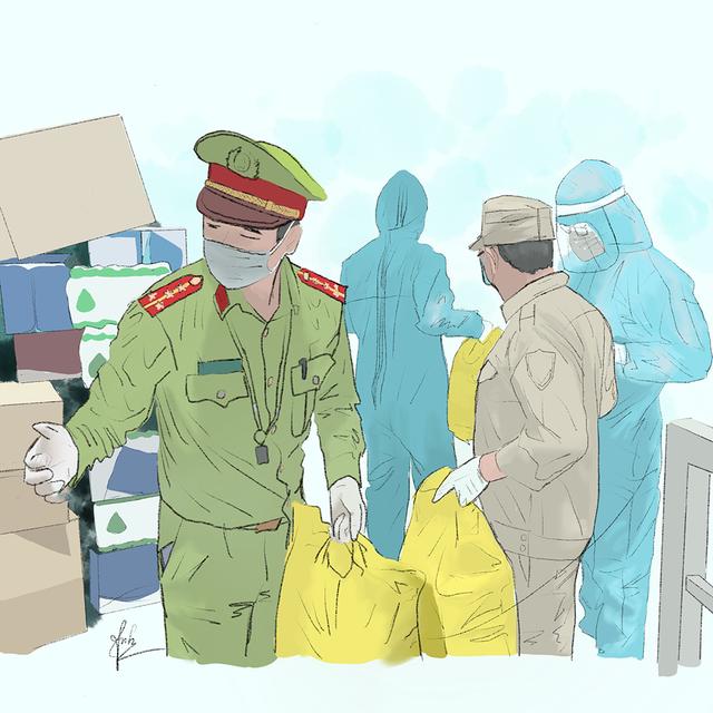 Cô gái Quảng Trị vẽ tranh về lực lượng chống dịch ở Đà Nẵng - 4