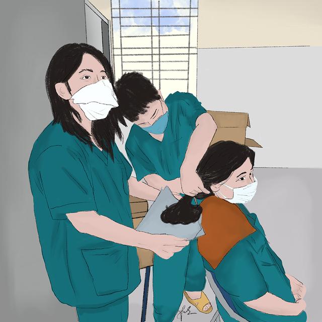 Cô gái Quảng Trị vẽ tranh về lực lượng chống dịch ở Đà Nẵng - 5