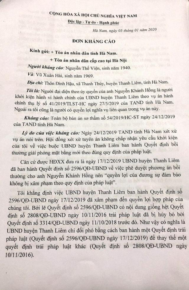 Vụ dân kiện quyết định của UBND huyện: TAND cấp cao thụ lý đơn kháng cáo! - 1
