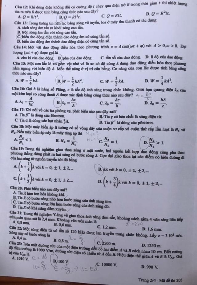 Gợi ý giải đề thi môn Vật lý tốt nghiệp THPT 2020 - 4