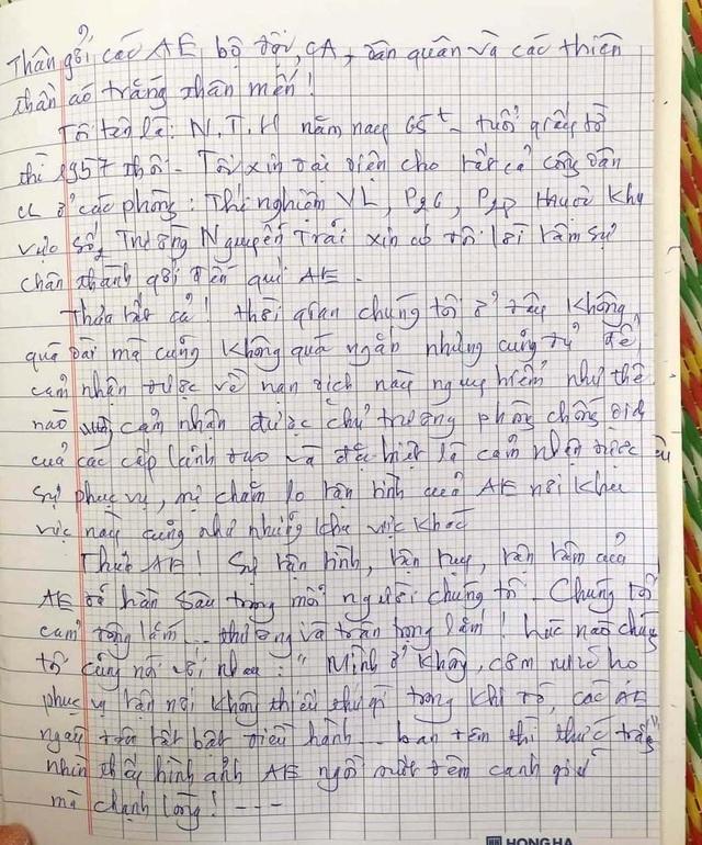 Lá thư cảm ơn xúc động của những người hoàn thành cách ly tập trung - 1