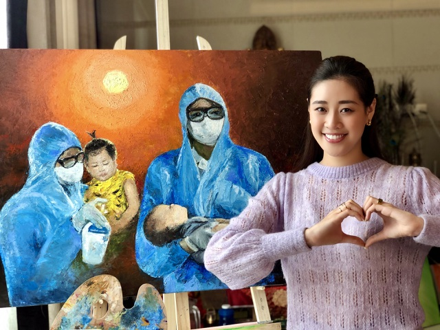 Cảm động bức tranh do cha con Hoa hậu Khánh Vân vẽ - 3