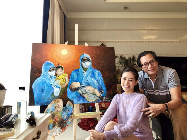Cảm động bức tranh do cha con Hoa hậu Khánh Vân vẽ - 1