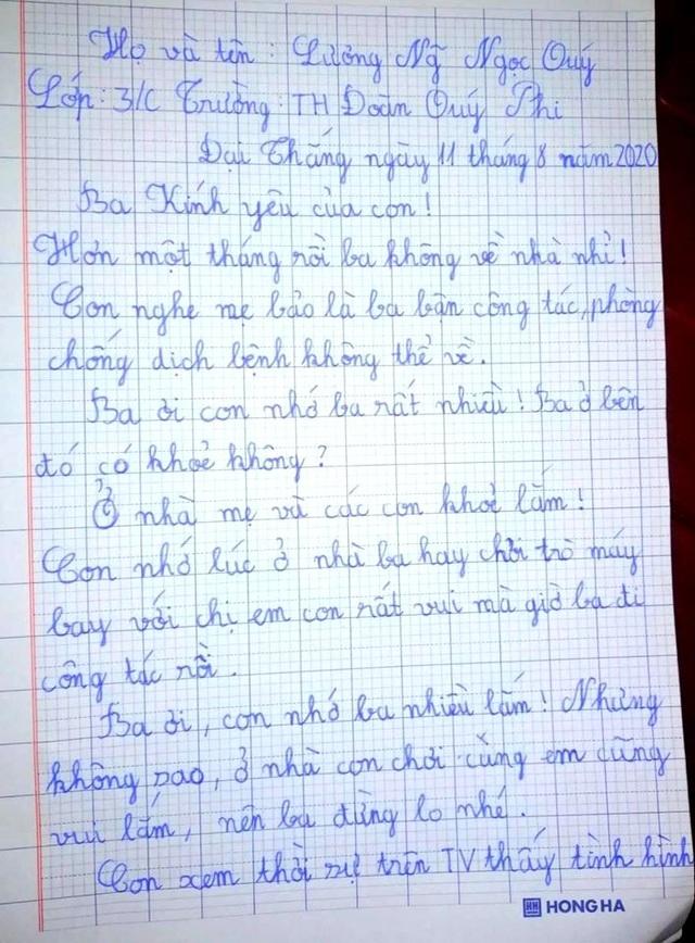Cảm động lá thư con gái nhỏ gửi bố làm nhiệm vụ chống dịch ở khu cách ly - 1
