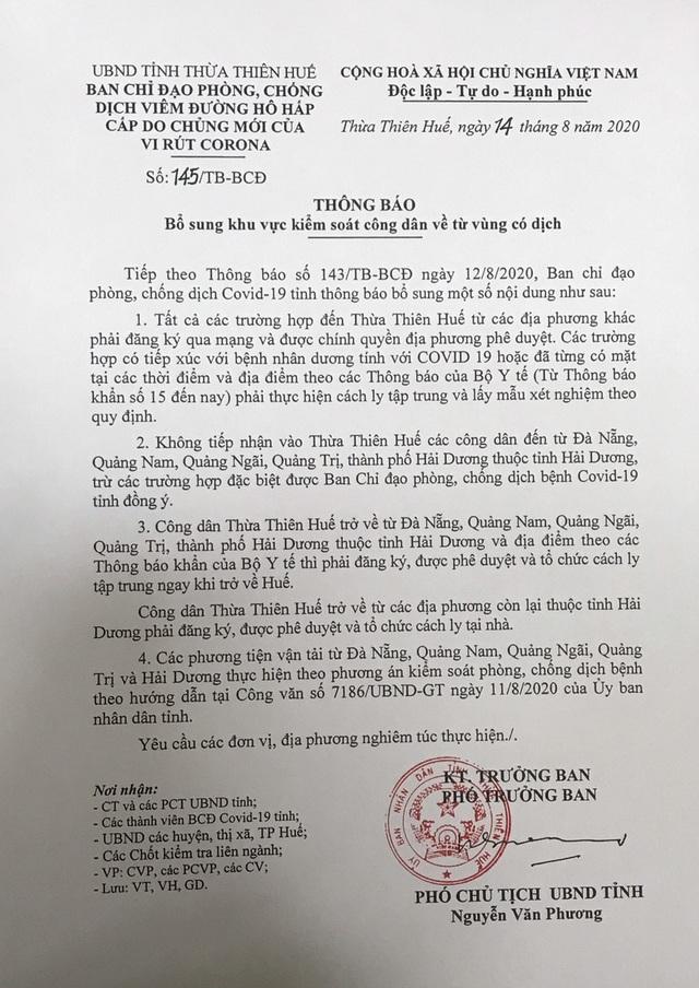 Thừa Thiên Huế không tiếp nhận công dân 5 vùng có dịch Covid-19 - 2