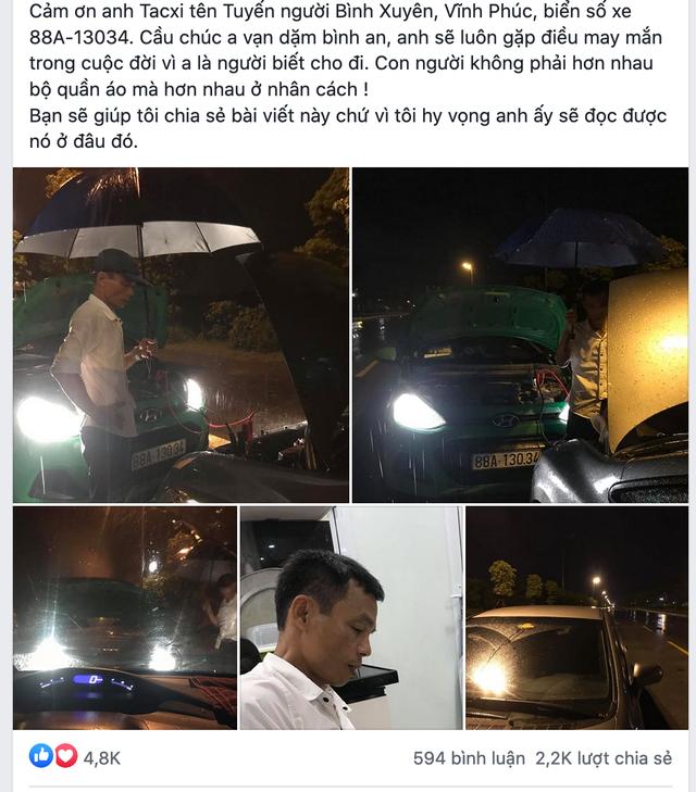 Cảm động câu chuyện anh taxi ngoại tỉnh sửa hộ xe giữa cơn mưa khuya tầm tã - 1