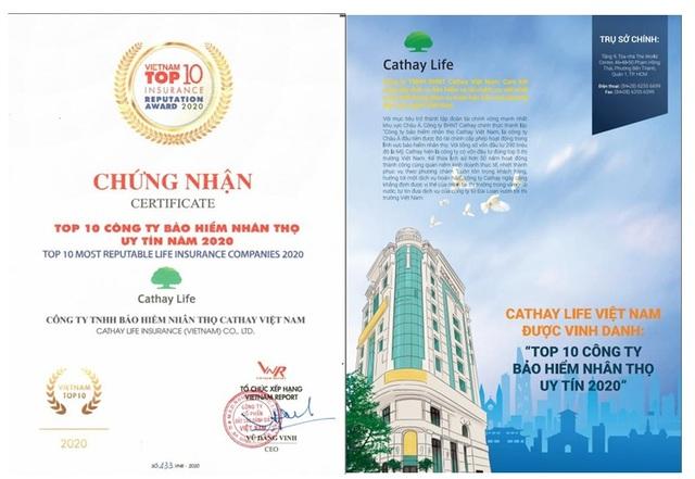 Cathay Life Việt Nam được vinh danh là 1 trong 10 công ty bảo hiểm nhân thọ uy tín - 1
