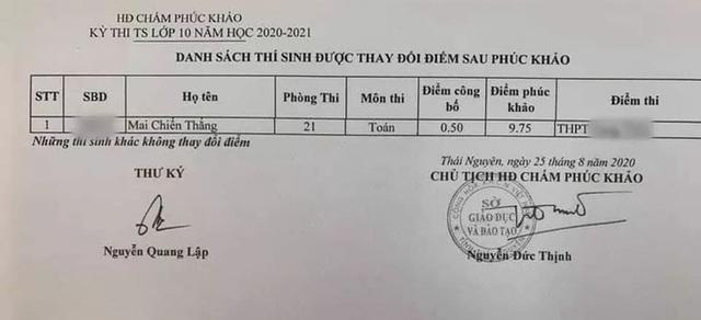 Thái Nguyên: Bài thi Toán tăng từ 0,5 lên 9,75 điểm sau phúc khảo - 1