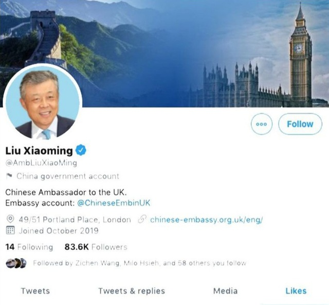 Tài khoản của đại sứ Trung Quốc tại Anh thích video nhạy cảm - 1