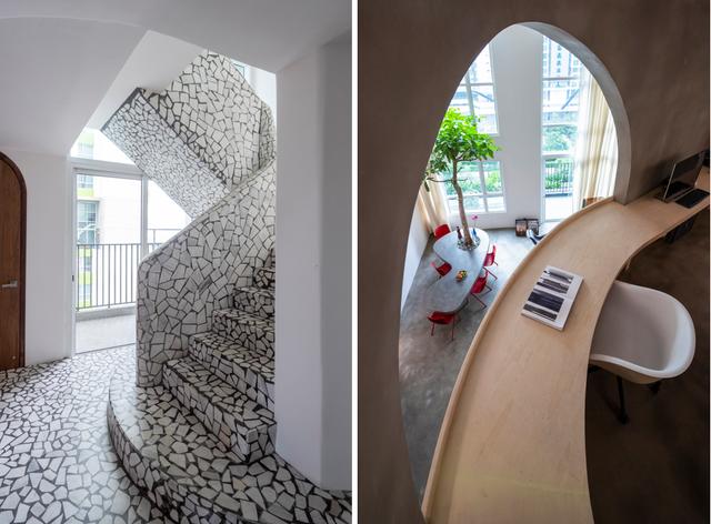 """Căn hộ 200m2 ở Sài Gòn """"hầm hố"""" với những hình khối bằng đá lạ mắt - 12"""