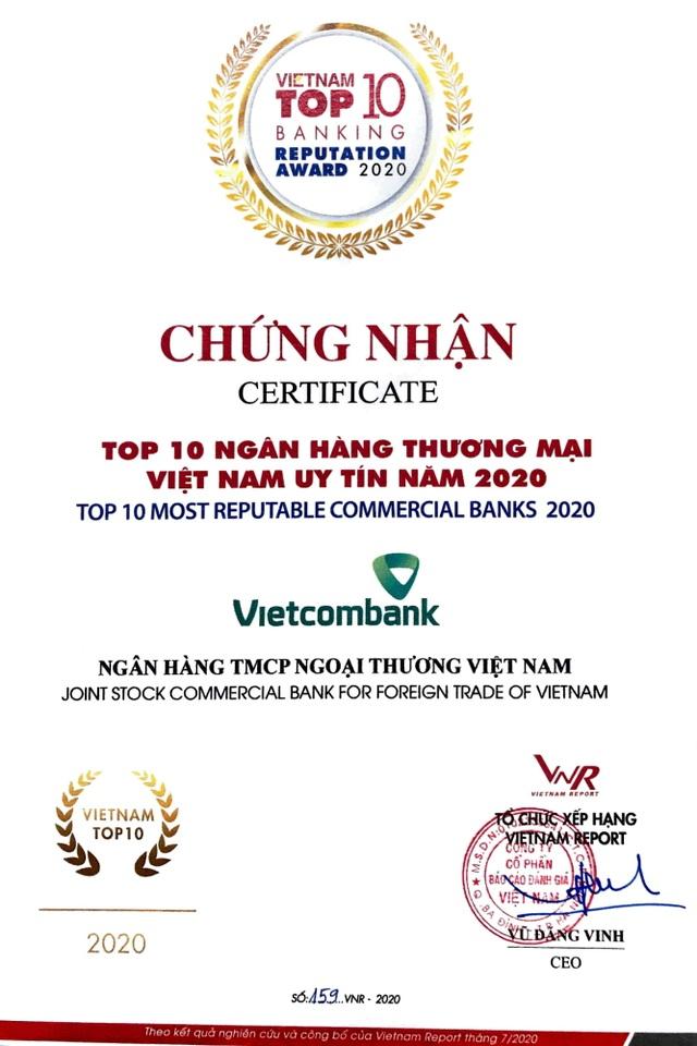 Vietcombank dẫn đầu bảng xếp hạng Top 10 Ngân hàng thương mại Việt Nam uy tín năm 2020 - 3