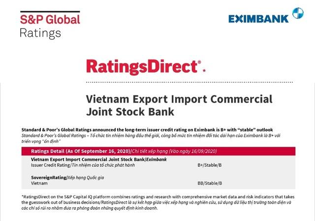"""SP Global giữ nguyên mức tín nhiệm B+ và triển vọng """"ổn định"""" đối với Eximbank - 1"""