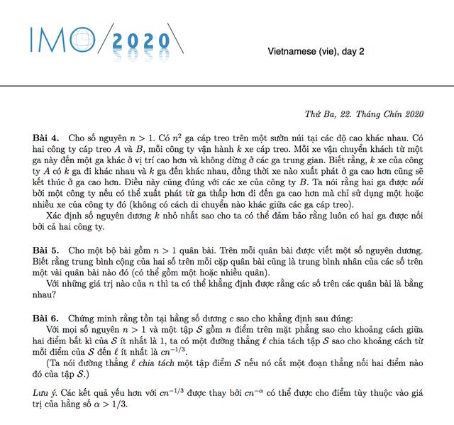 Đề thi Olympic Toán quốc tế lần thứ 61 - IMO 2020: 6 bài làm trong 2 ngày - 2