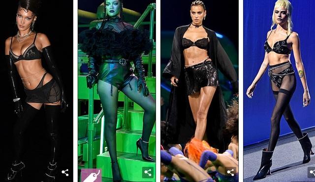 Bella Hadid, Paris Hilton... bốc lửa trong show diễn của Rihanna - 1