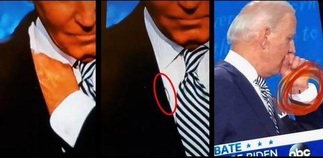 Sợi dây bí ẩn trên người ông Biden trong cuộc tranh luận đầu tiên - 1