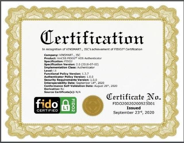 Hệ điều hành VOS của VinSmart đạt chuẩn FIDO2, hỗ trợ xác thực mạnh không cần mật khẩu - 1