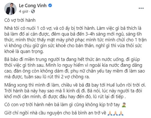 """Công Vinh gọi Thủy Tiên là """"cô vợ trời hành"""" vì một mình bay ra Huế cứu trợ - 2"""