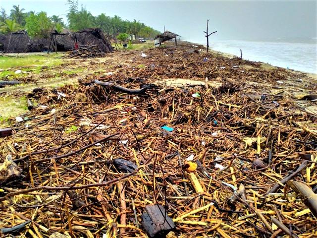 Hàng chục tấn rác thải bủa vây bãi biển ở Quảng Nam sau lũ  - 1