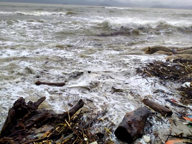 Hàng chục tấn rác thải bủa vây bãi biển ở Quảng Nam sau lũ  - 10