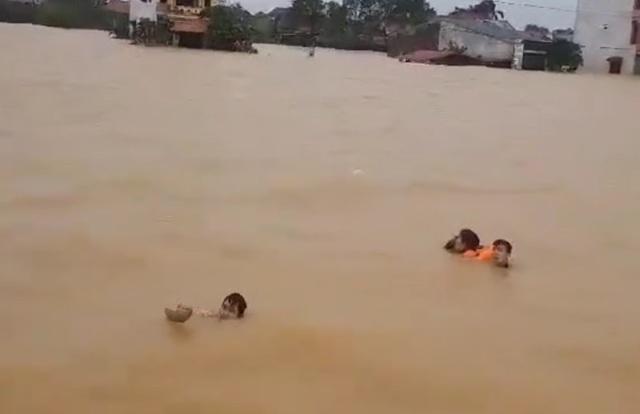 Cứu 4 người bị lật thuyền, chới với giữa dòng lũ - 1