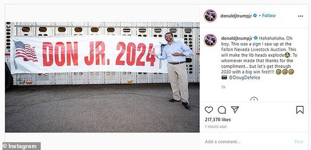 """Con trai ông Trump """"úp mở"""" có thể ra tranh cử tổng thống năm 2024 - 1"""