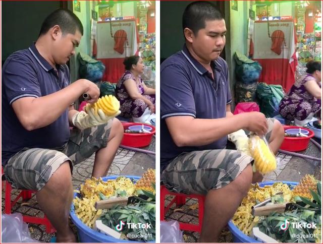 Người đàn ông ở Sài Gòn trổ tài gọt dứa trong 45 giây gây sốt mạng - 1