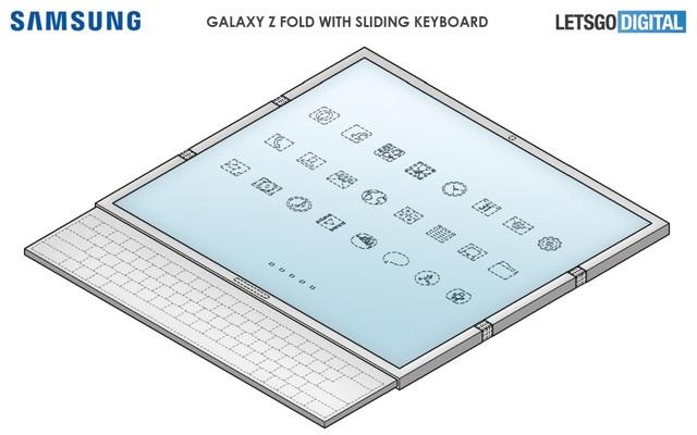Độc đáo ý tưởng smartphone màn hình gập với bàn phím trượt của Samsung - 1