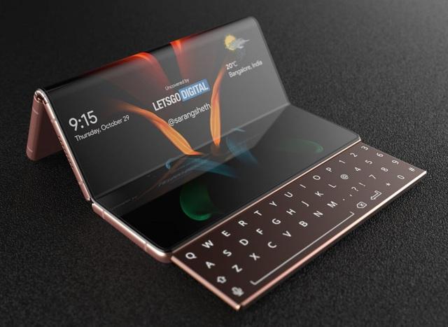 Độc đáo ý tưởng smartphone màn hình gập với bàn phím trượt của Samsung - 3