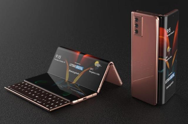 Độc đáo ý tưởng smartphone màn hình gập với bàn phím trượt của Samsung - 7