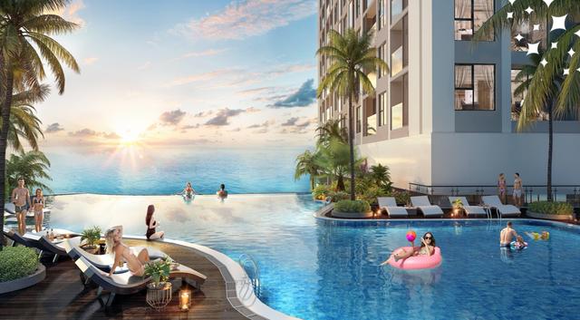 Bể bơi vô cực giúp cư dân vừa thả mình trong làn nước mát, vừa ngắm mặt trời lúc bình minh hay hoàng hôn trên biển