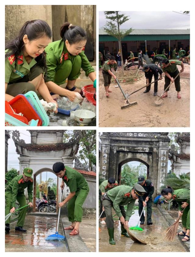 Đội thanh niên tình nguyện Công an tỉnh phối hợp hỗ trợ trường mầm non xã Hưng Trung vệ sinh khuôn viên trường.