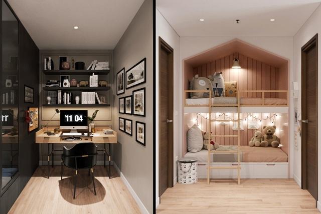 Không gian +1 bên trong căn hộ được tùy chỉnh linh hoạt thành giường ngủ hoặc góc làm việc yên tĩnh