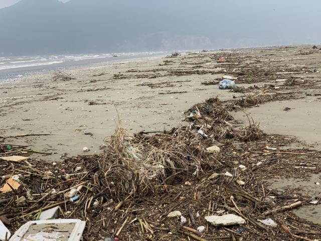 Hàng chục tấn rác bủa vây bãi biển sau lũ - 1