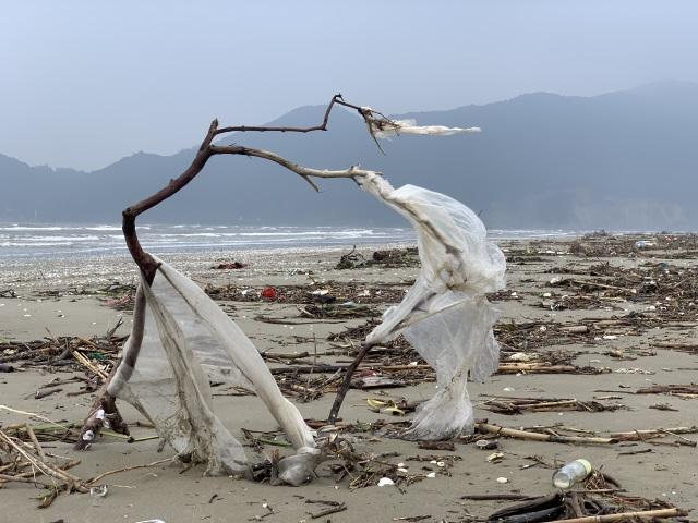 Hàng chục tấn rác bủa vây bãi biển sau lũ - 5