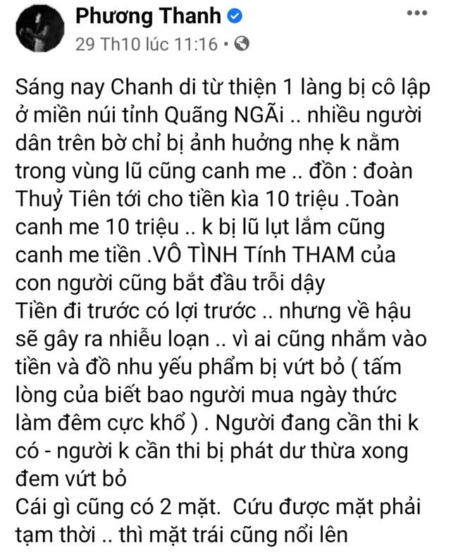 Ca sĩ Phương Thanh phải làm rõ nội dung đăng facebook cá nhân về từ thiện - 1