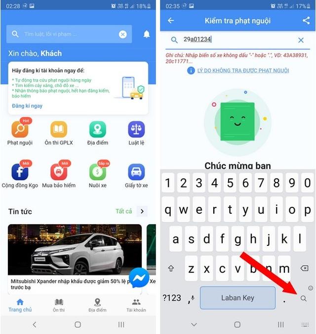 Hướng dẫn tra cứu phạt nguội giao thông bằng ứng dụng trên smartphone - 2