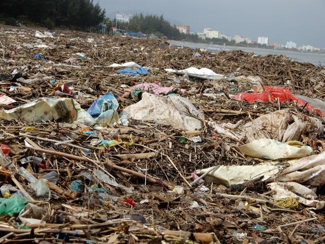 Lượng rác khổng lồ bịt kín bờ biển Đà Nẵng sau bão 13 - 4