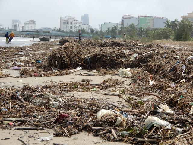 Lượng rác khổng lồ bịt kín bờ biển Đà Nẵng sau bão 13 - 6