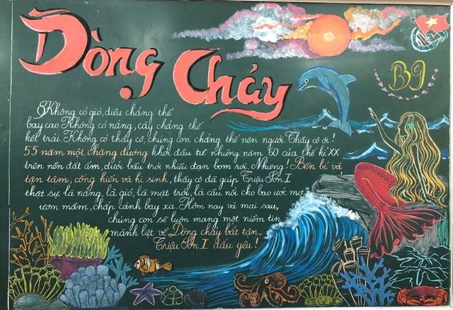 Độc đáo báo tường bằng... phấn vẽ trên bảng đen mừng Ngày Nhà giáo Việt Nam - 11