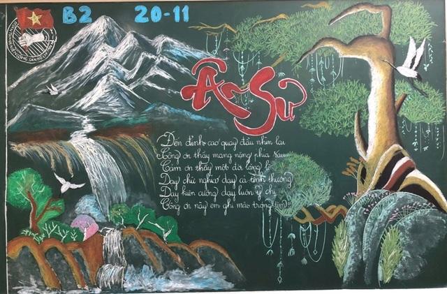 Độc đáo báo tường bằng... phấn vẽ trên bảng đen mừng Ngày Nhà giáo Việt Nam - 7