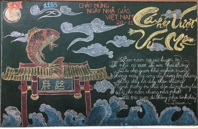 Độc đáo báo tường bằng... phấn vẽ trên bảng đen mừng Ngày Nhà giáo Việt Nam - 9