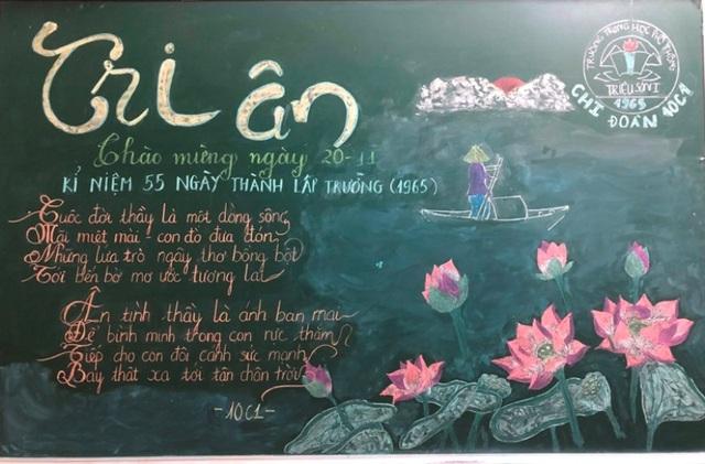 Độc đáo báo tường bằng... phấn vẽ trên bảng đen mừng Ngày Nhà giáo Việt Nam - 3
