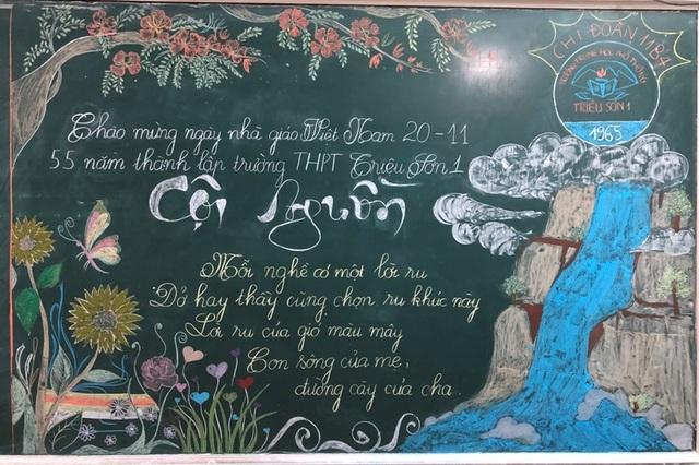 Độc đáo báo tường bằng... phấn vẽ trên bảng đen mừng Ngày Nhà giáo Việt Nam - 13