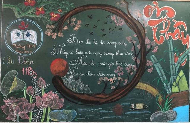Độc đáo báo tường bằng... phấn vẽ trên bảng đen mừng Ngày Nhà giáo Việt Nam - 2