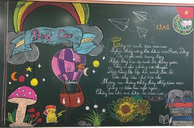 Độc đáo báo tường bằng... phấn vẽ trên bảng đen mừng Ngày Nhà giáo Việt Nam - 4